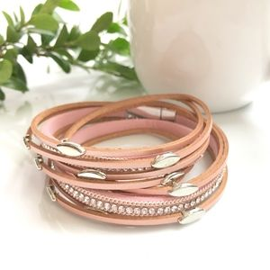 Pink Leather Wrap Bangle Magnet Bracelet